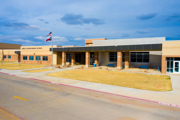 James R Brooks Middle School front entrance and exterior