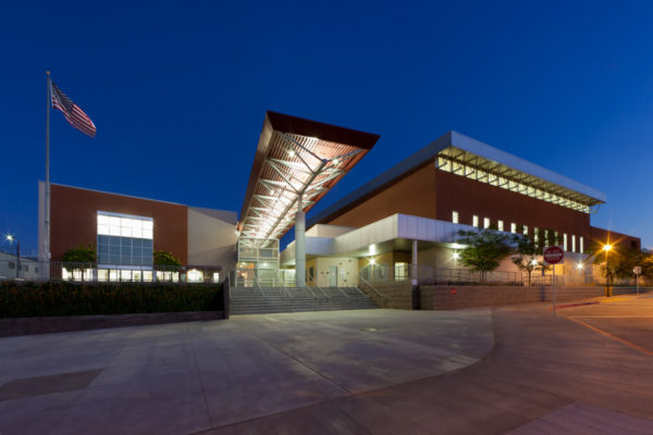 Granada Hills High School front entrance at night