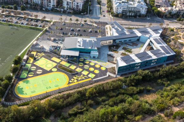 Playa Vista Elementary school aerial view of complex