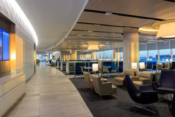 LAX United Airlines Terminals 7 & 8 interior view of seating