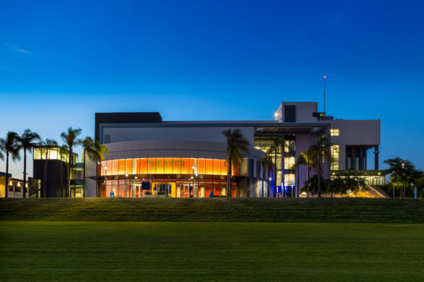 LA SW College School Theater exterior at night