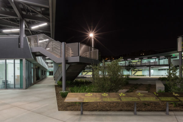 Playa Vista Elementary school exterior stairwell at night
