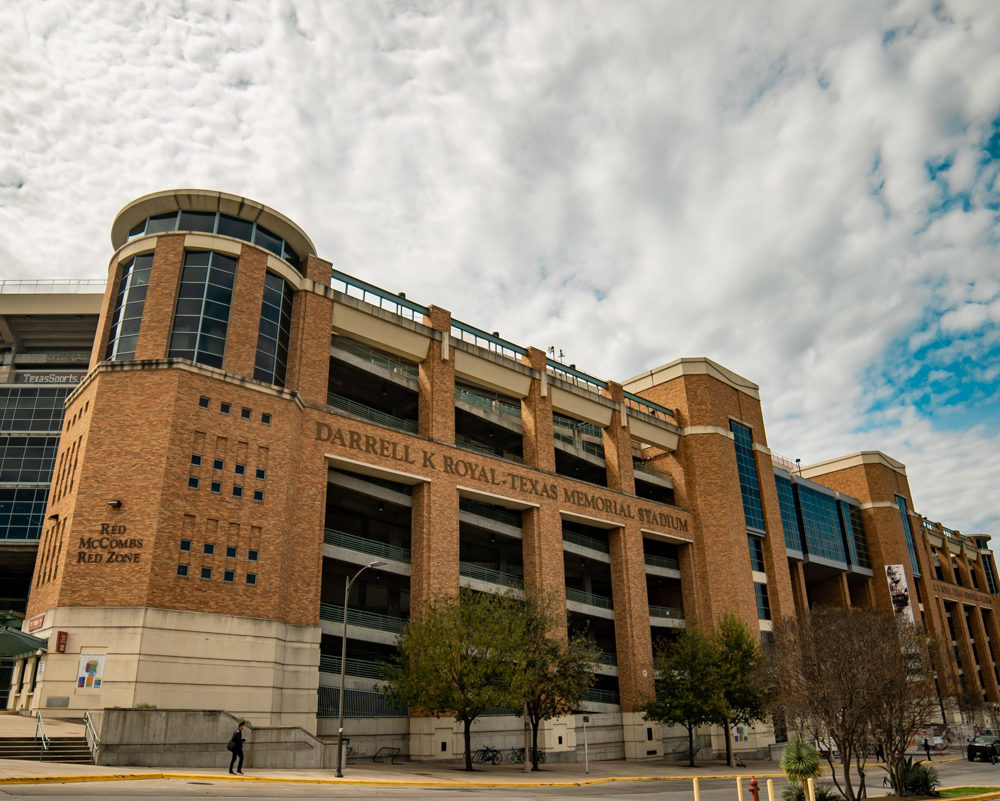 UT Memorial Stadium front entrance and street