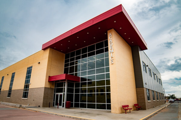 Odessa High School front windows and entrance