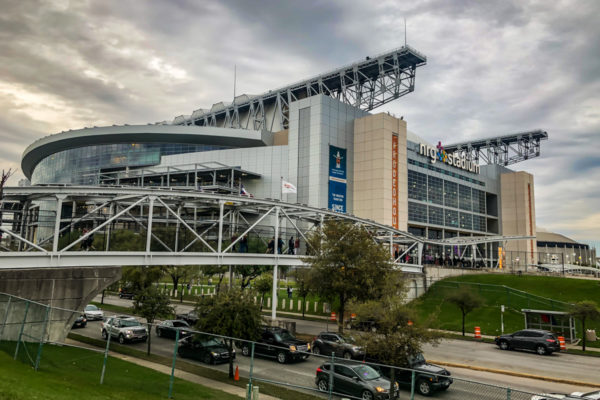 NRG Stadium exterior view with street