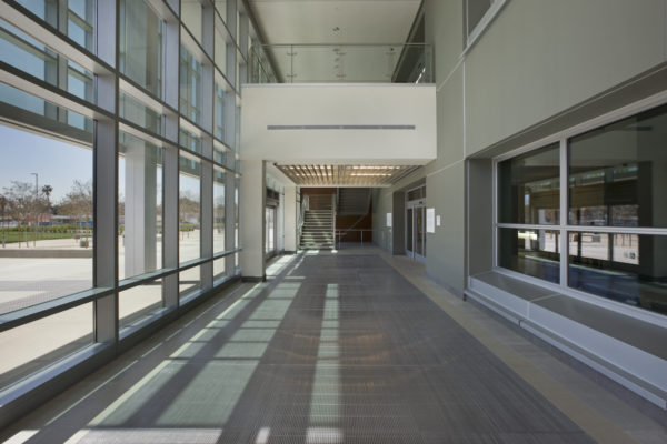 Kasier Panorama City Hospital hallway where left side is glass and metal
