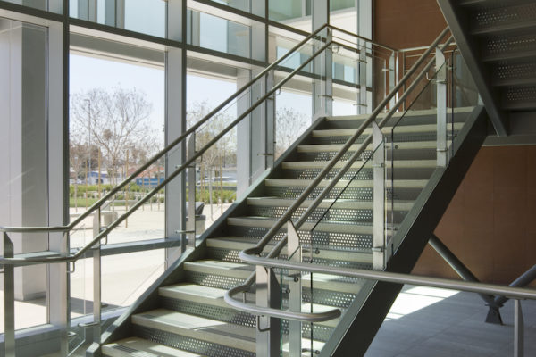 Kasier Panorama City Hospital staircase with beautiful metal and glass