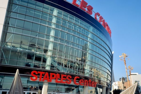 Staples Center curved glass front with the logo in bright red letters