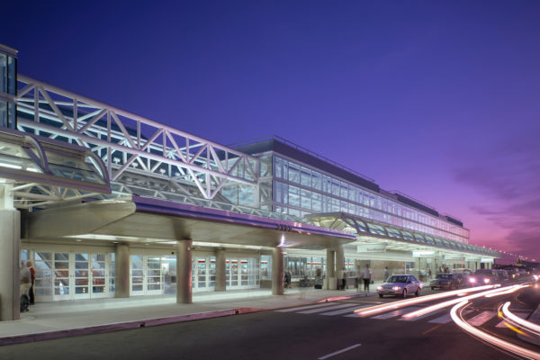 Fun angle of Ontario Airport during a purple sunset