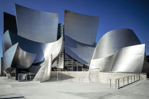 Disney Concert Hall showing off the steel work with architecture exterior bent at interesting angles
