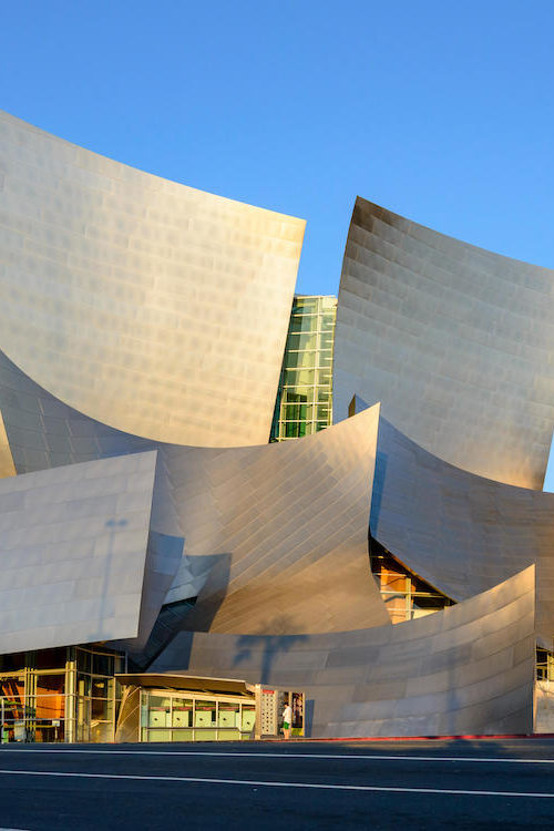 Disney Concert Hall Building displaying how it a work of art made of metal