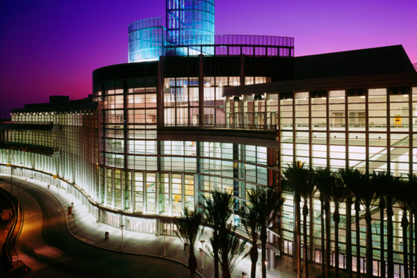 Anaheim convention center illuminated at twilight