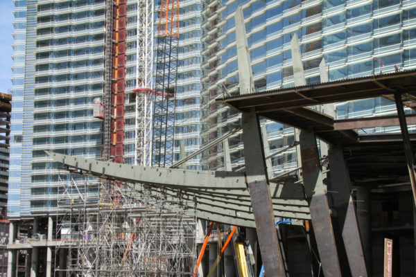 Aria under construction with metal work