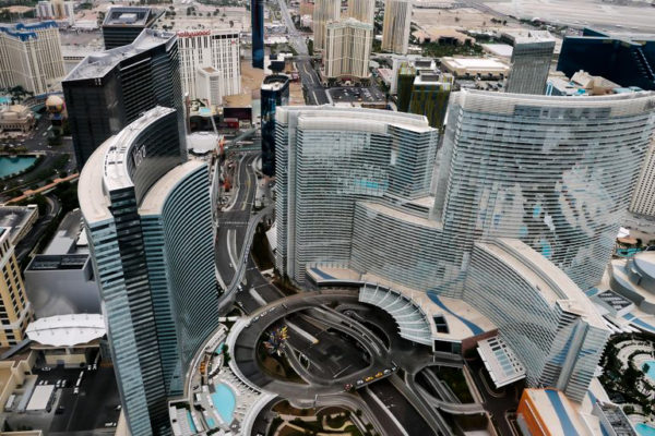 Beautiful sky view of completed Aria Hotel