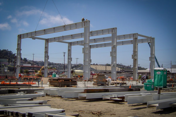 Muni Metro under construction with steel frames