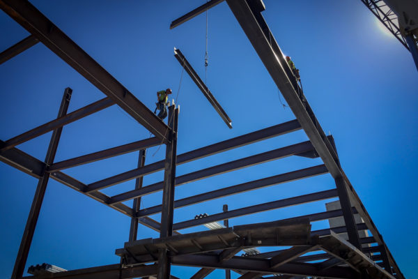 UNLV frame being set in place by crane
