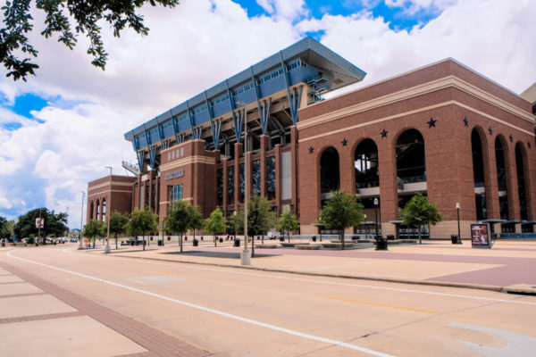 East side of Kyle Field, with a seating capacity for 102,995 people, on the campus of Texas A&M University in College Station, Texas, USA.