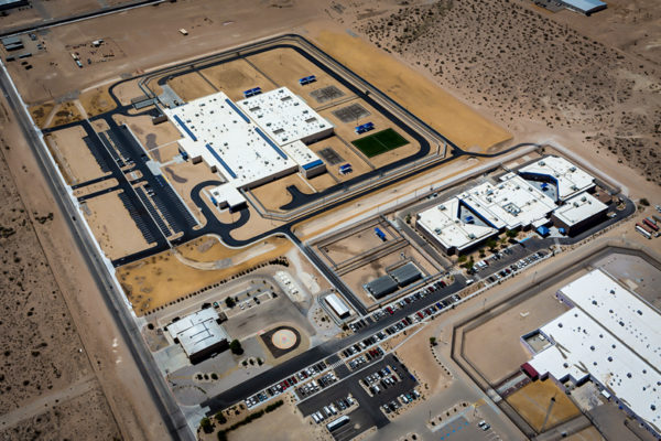Adelanto ICE Processing Center aerial view of complex
