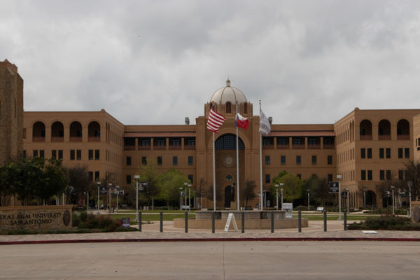 A&M Central Academic Building  flagpoles and front entrance