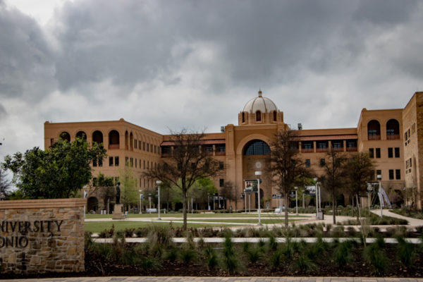 A&M Central Academic Building front landscaping