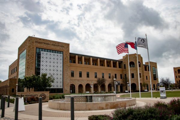 Texas A&M Multipurpose Building fountan and flags