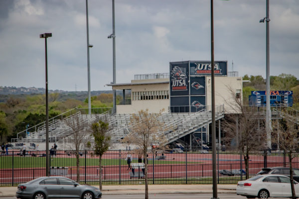 UTSA Athletic Complex Bleachers and track with fence