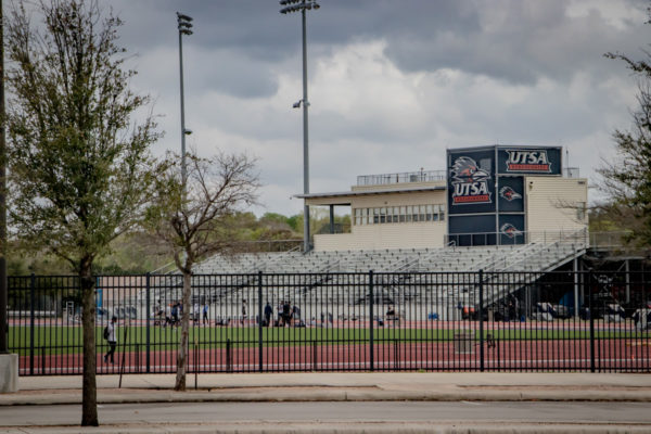 UTSA Athletic Complex fence and bleachers