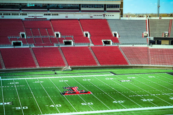Jones AT&T Stadium view of field with Tech Logo