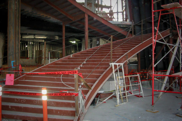 Walt Disney Concert Hall stairs being installed
