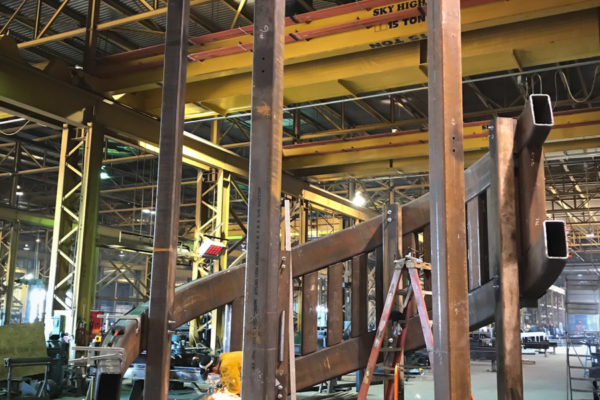 Buddy Holly Hall staircase being build with metal