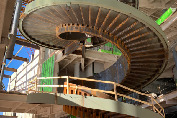 Buddy Holly Hall heavy steel staircase fabricated by Beck Steel