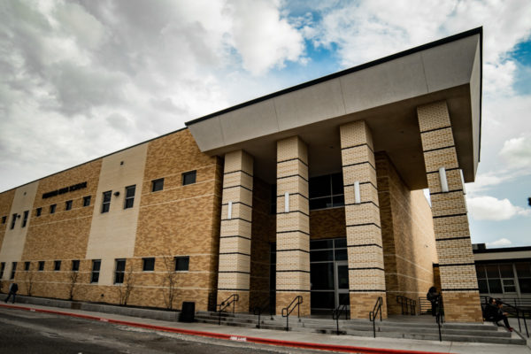 Permian High School front entrance with pillars