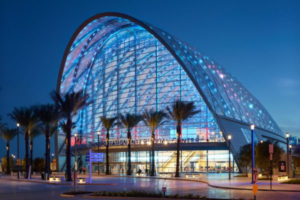 HW4GWE Exterior view of ARTIC project, Anaheim, California, USA.