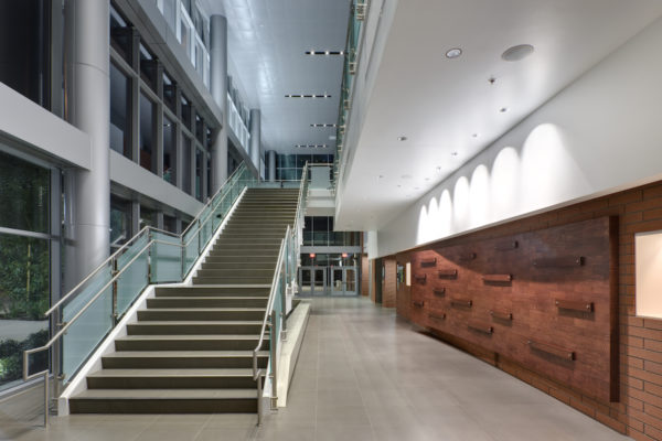 Arcadia HS Performing Arts hall with a staircase with metal railings