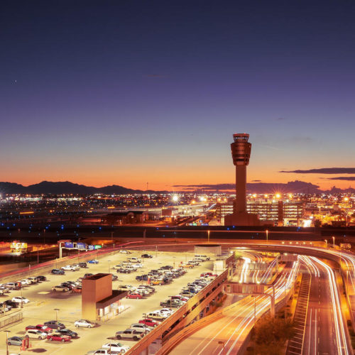 Sunset skyline of Sky Harbor Phoenix Airport